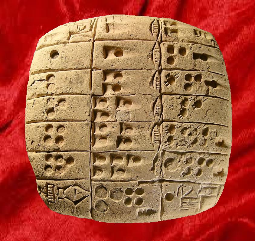 Tabla de multiplicar para medidas de longitud. Sumeria, hace 4.700 años
