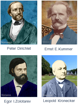 Peter Gustav Lejeune Dirichlet y Ernst Eduard Kummer, Leopold Kronecker, Egor Ivanovich Zolotarev