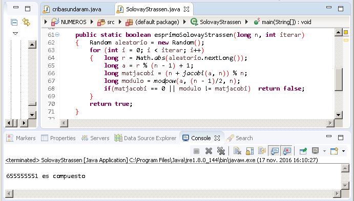 Prueba Solovay-Strassen en Java par números pequeños