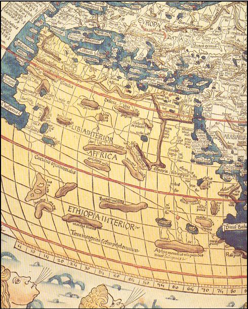 Mapa de Ptolomeo por Johannes de Armsshein 1.482