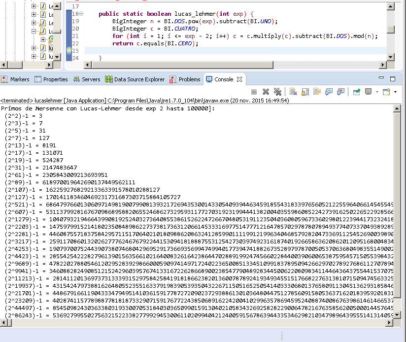 Programa en Java de la prueba de Lucas-Lehmer
