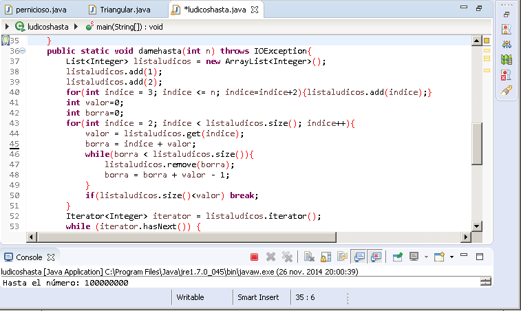Programa en Java números Lúdicos