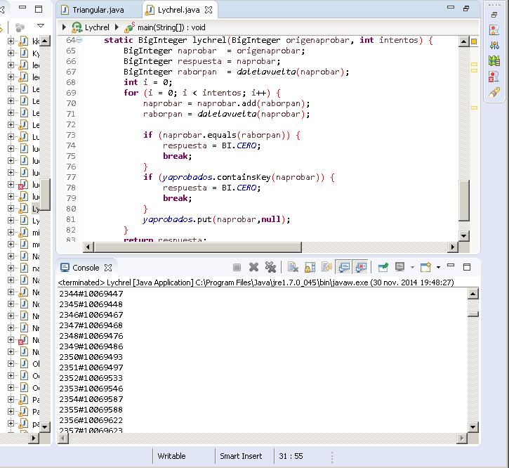 Programa en Java para números de Lychrel-196