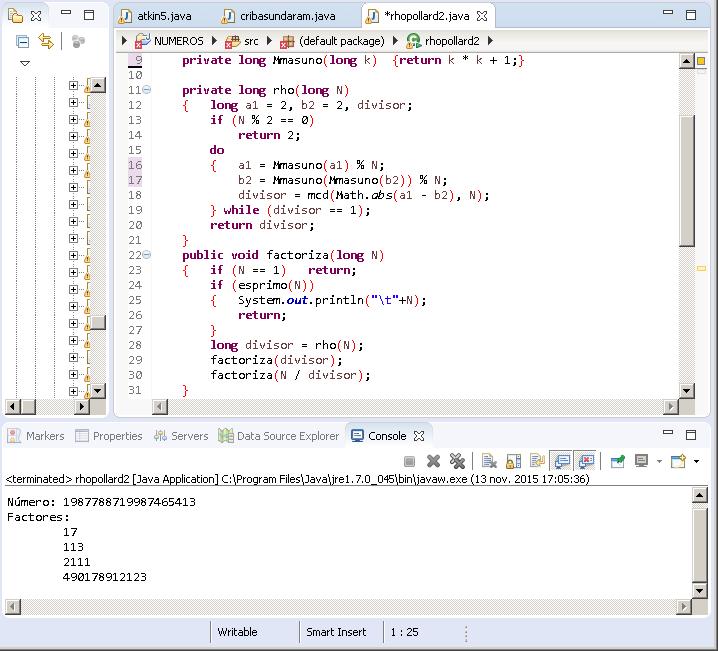 Versión para pequeños números de rho Pollard en Java