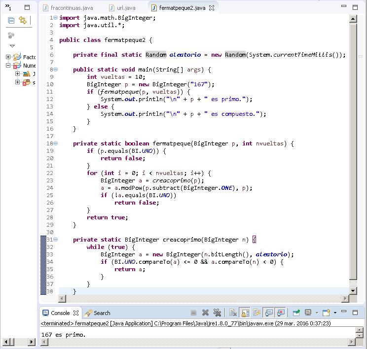 Pequeño teorema de Fermat en Java