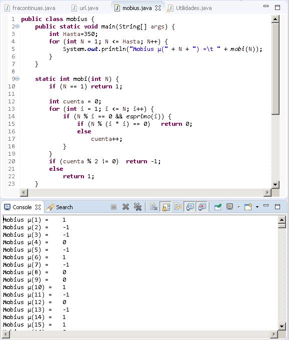 Función de Möbius function Java