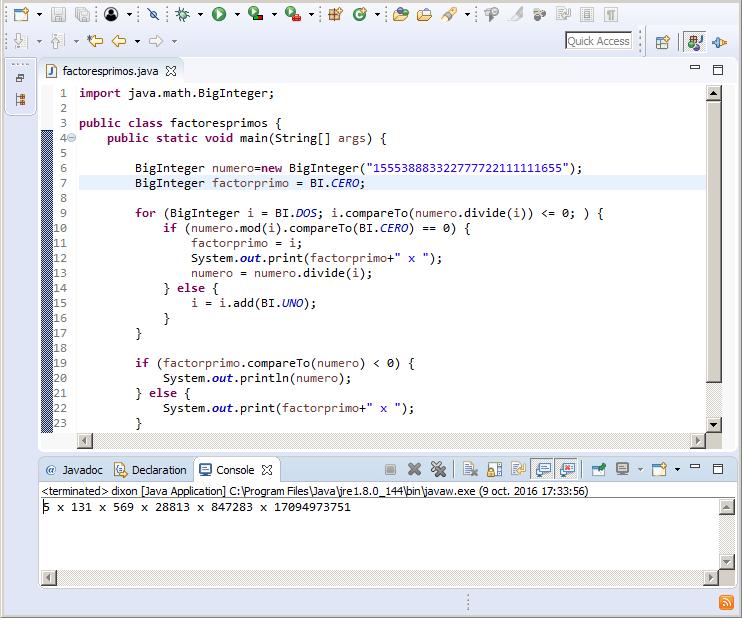 Ejemplo en lenguaje Java para factorizar enteros