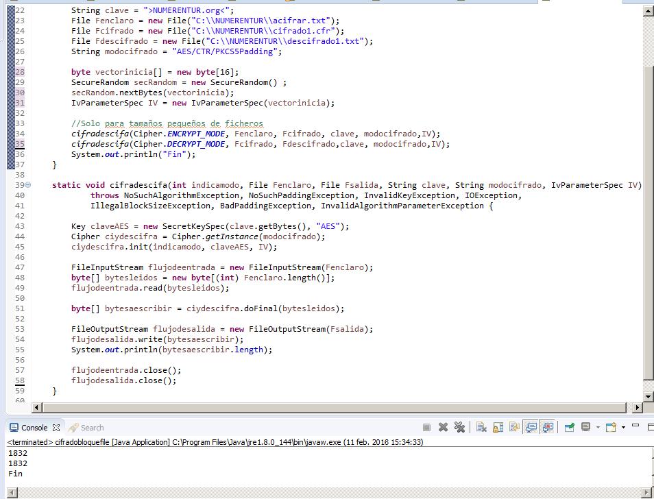 Ejemplo cifrado en bloque modo CTR Java