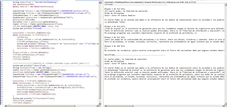 Ejemplo cifrado en bloque modo CBC Java