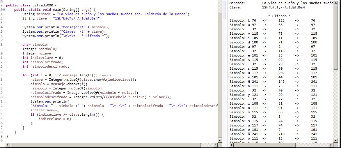 Ejemplo de codificación en Java del cifrado XOR.