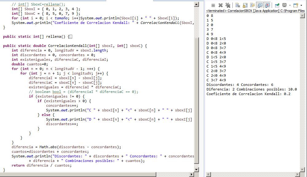 Ejemplo Kendall en Java S-BOX