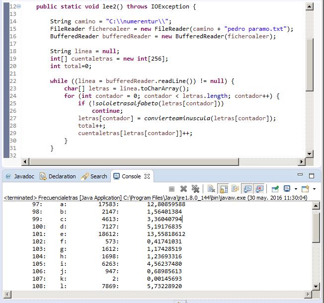 Programa en Java para la obtención de frecuencias.