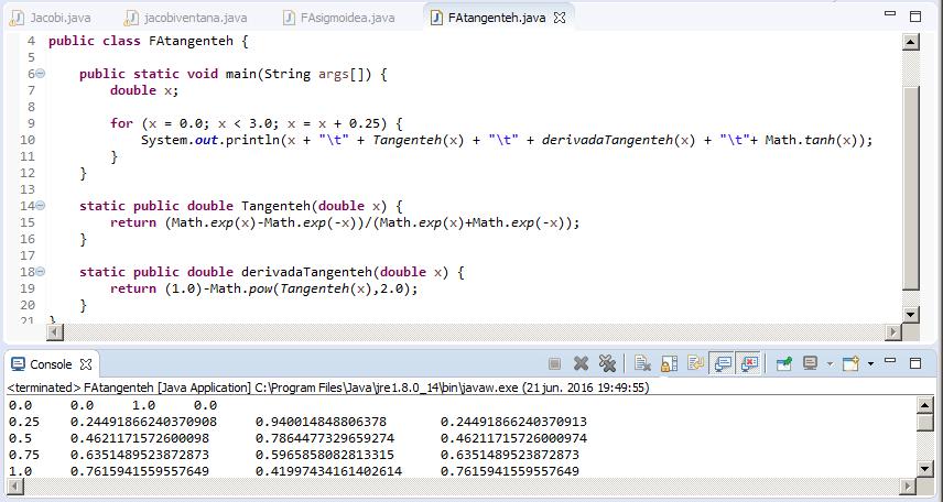 Función de activación de Tangente Hiperbólica Java