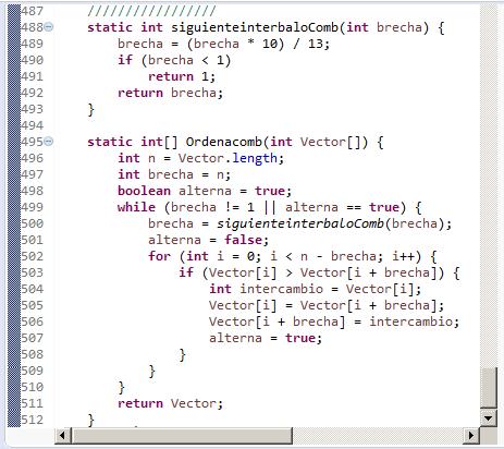 Comb. Algoritmo de ordenación en Java