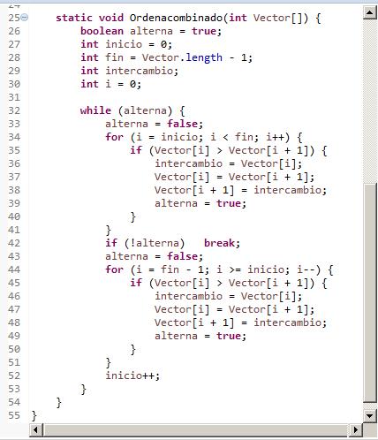 Combinado. Algoritmo de ordenación en Java