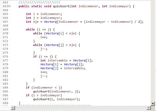 Quicksort. Ejemplo en Java (Monoprocesador)
