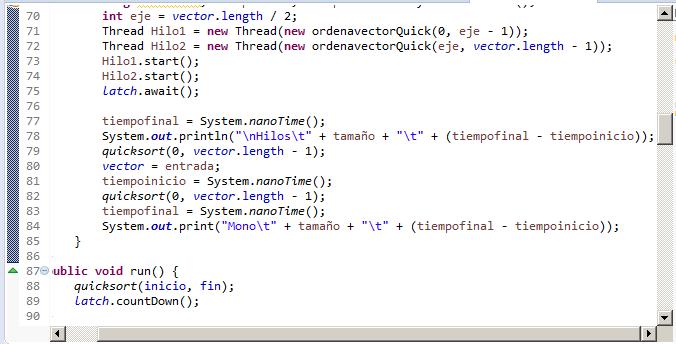 Programa java Quicksort con 2 hilos