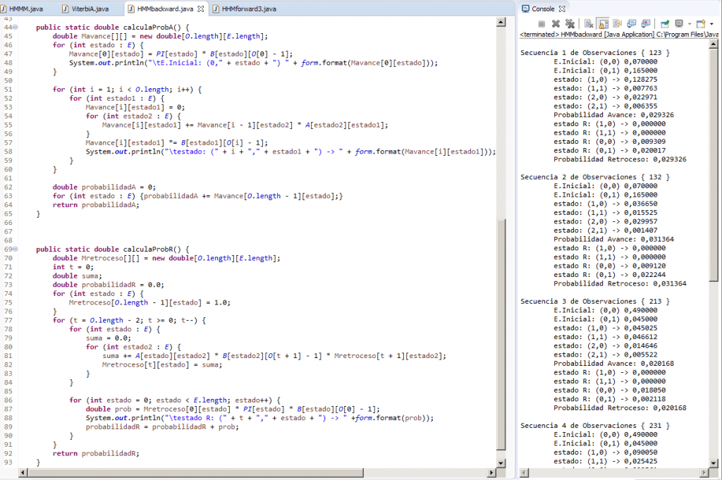 HMM Modelo oculto de Markov algoritmo-Backward Retroceso en Java