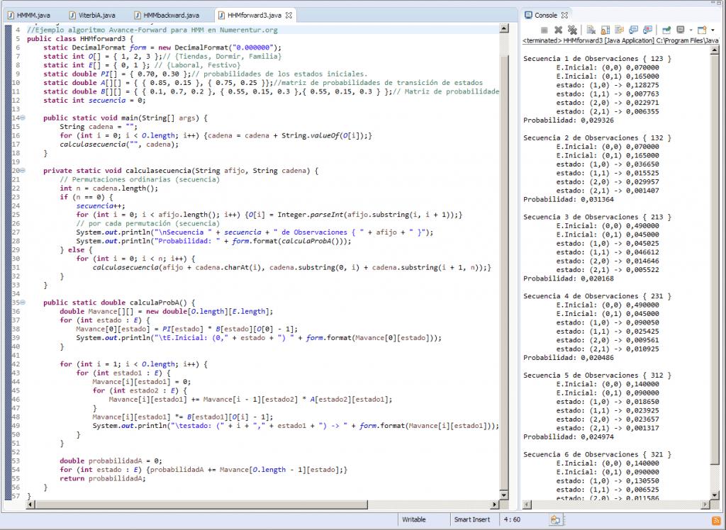 HMM Modelo oculto de Markov algoritmo-Forward