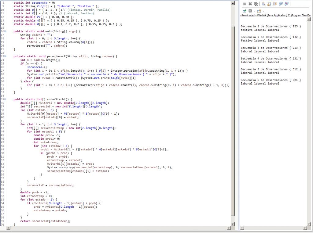 Algoritmo de Viterbi en Java